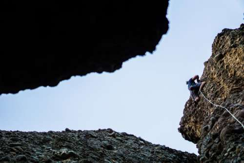 blue sky hill rock cliff