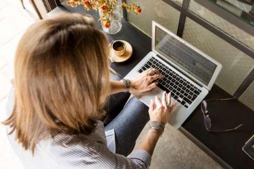 laptop typing woman laptop working