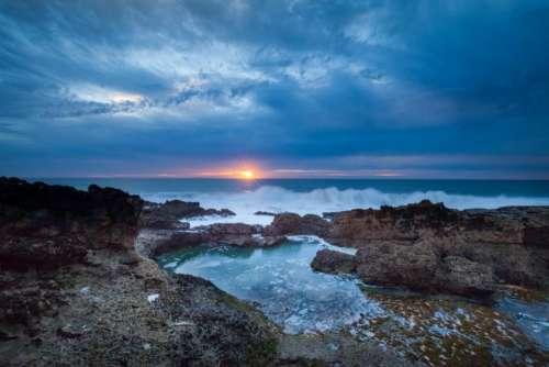 ocean sea waves rocks shore