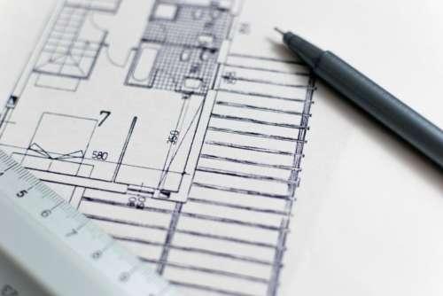 architecture plant paper ruler pen