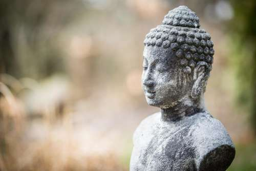 gautama buddha figure statue blur