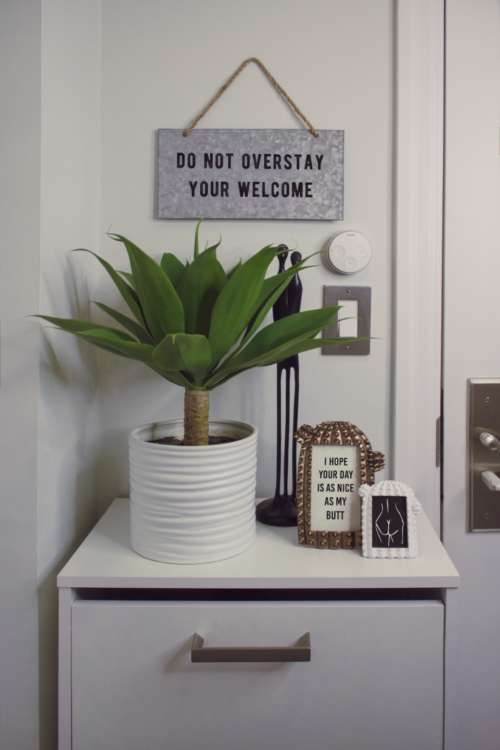 welcome home house green plant