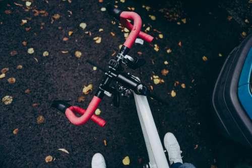 racer bike bicycle foot road leaf