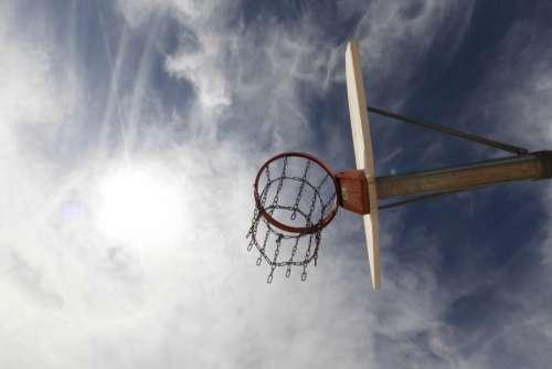 basketball hoop sky clouds sport basketball