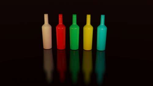 colorful bottles container display design