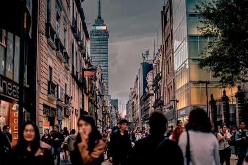 urban city buildings people crowd