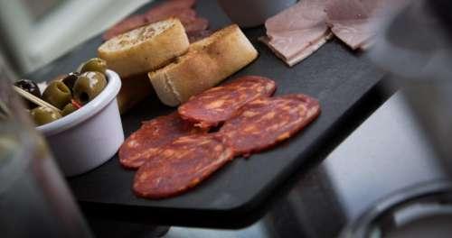 food gourmet table spread salami