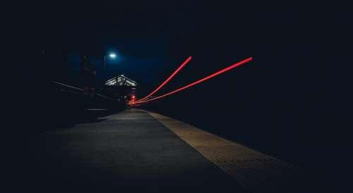dark night city lights street