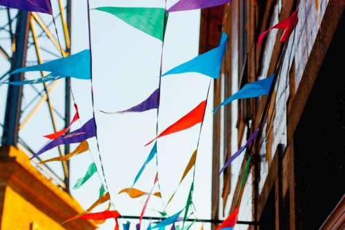 colorful flaglets building festival celebration