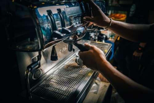 barista coffee machine coffee shop hands
