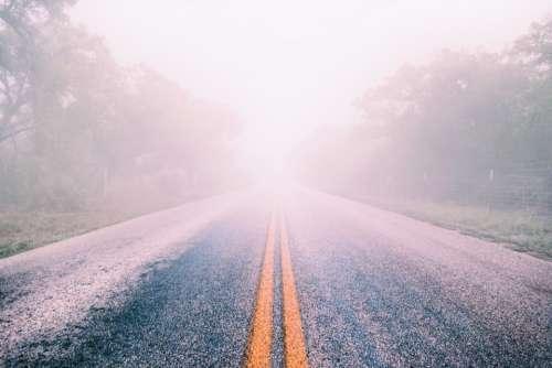 fog mist road highway winter