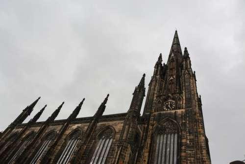 church architecture clock sky storm