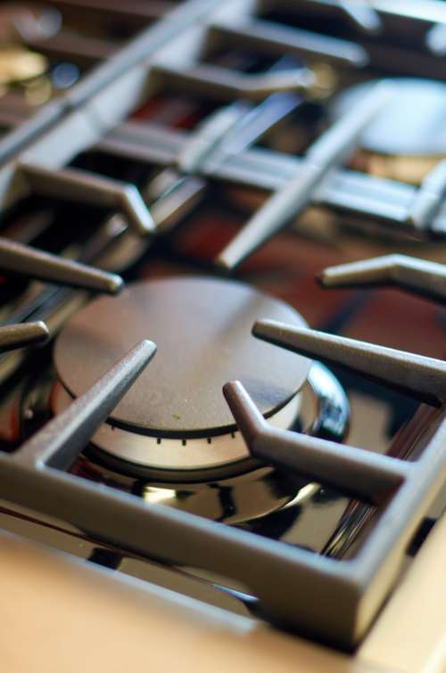 gas stove burner macro closeup