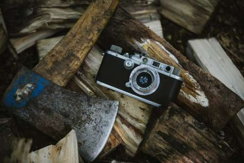 vintage camera axe wood chopped