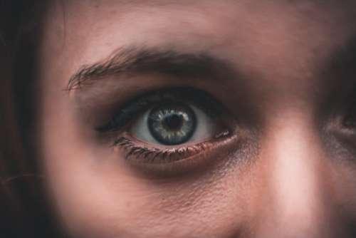 woman blue eyes close-up female