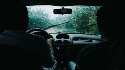 driving car rain shadow silhouette
