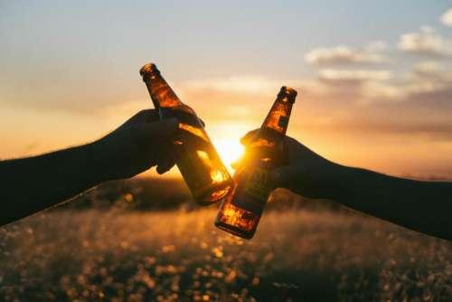cheers beer bottles hands sunset
