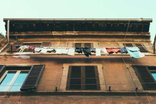 building house window laundry clothing