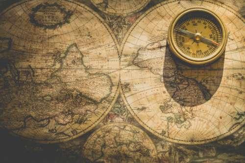 vintage world map compass map world