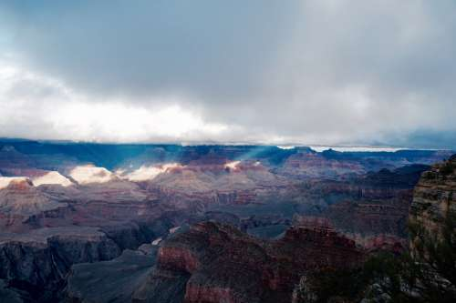 Clouds clearing over Grand Canyon, Arizona, USA