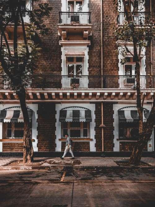 Lone Man On Cheerful Street Photo