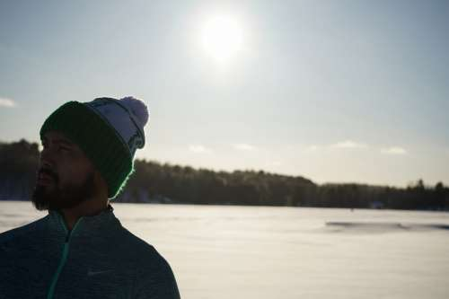 Man Wearing Hat On Sunny Snow Day Photo