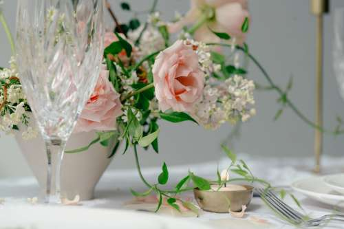Peach Roses On Table With Glass Photo