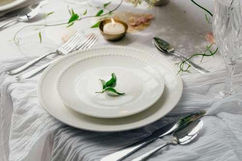 White Dinner Setting Photo