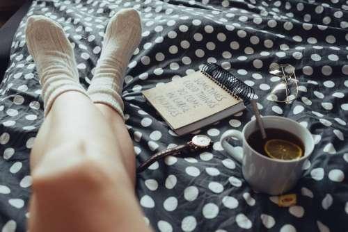 Chilling in bed in woollen socks