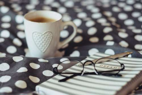 Dreams notebook, glasses and coffeemug 2