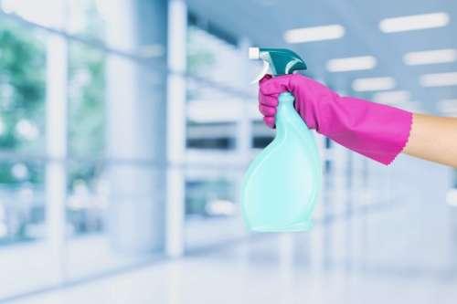 Hand in gloves holds spray bottle.