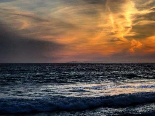 Sunset beach ocean evening dusk