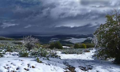 winter landscape mountain clouds nature