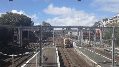 railway railroad tracks trains transportation