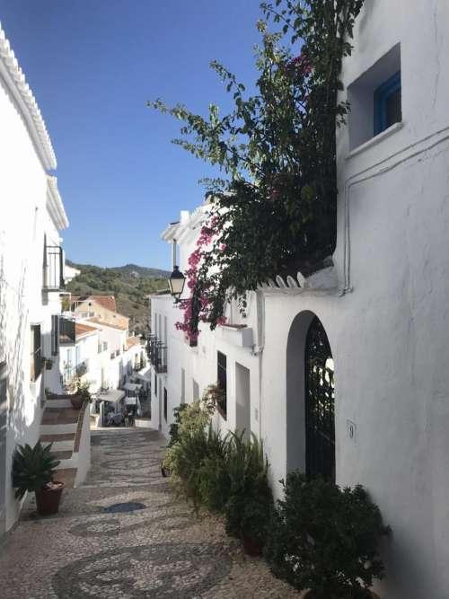 Spain white washed village Frigliana Costa del Sol village