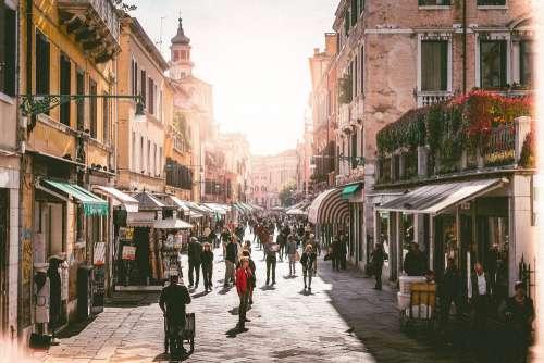 Busy Street in Venice, Italy Free Photo