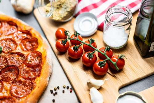 Cherry Tomatoes and Pizza Free Photo