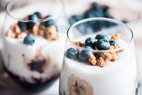 Fitness Müsli Breakfast with Blueberries Free Photo