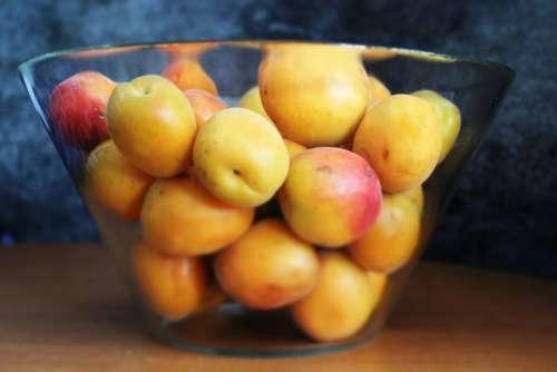 Apricot Fruit Glass Bowl Delicious