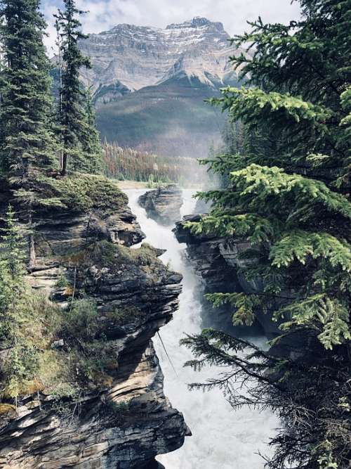 Athabasca Falls Scenic Waterfalls Landscape Mountain