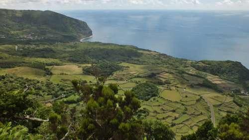 Azores Landscape Flores Meadows Sea Coastline
