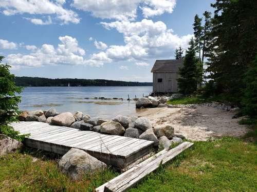 Beach Nova Scotia Sea Coast Barn Rocks Shore