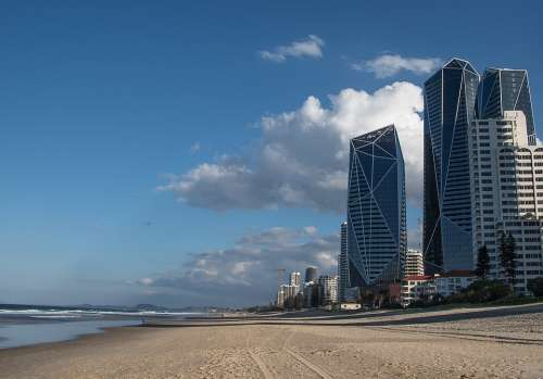 Beach Sand Ocean Buildings Architecture Towers