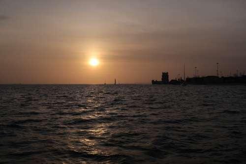 Belem Tower Tejo River Boat Sailing Portugal