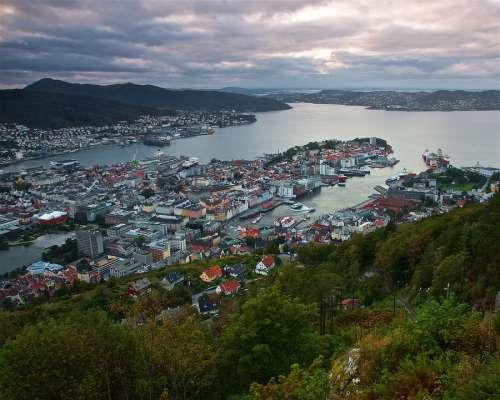Bergen Cloud Colourful Sea Mountains Landscape