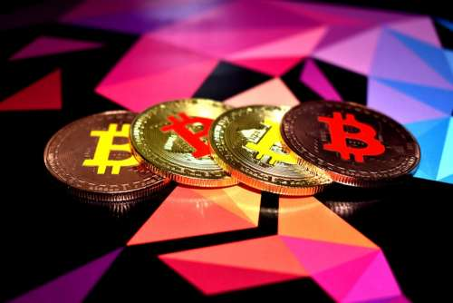 Bitcoin Four Coins Currency Symbol Coin Sign