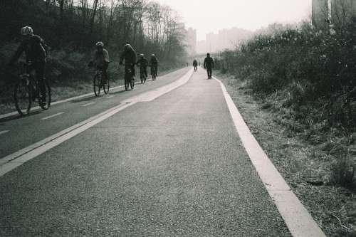 Black Road Asphalt Photo B W Film Filmcamera