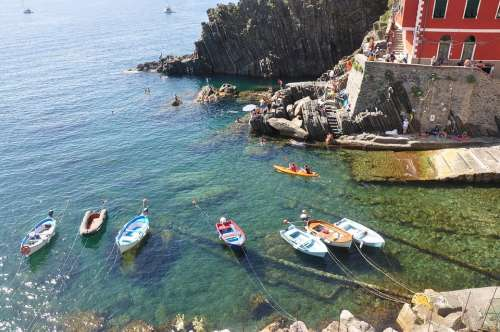 Boats Bay Mediterriane Summer Sunny Day Italy