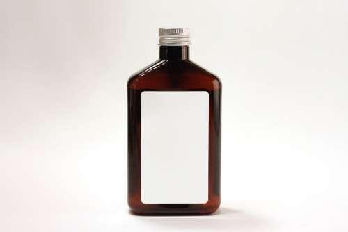 Bottle Jug Container Brown Label Glass Jar