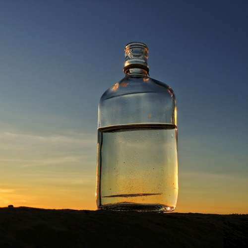 Bottle Sunset Horizon Beach Sky Water Glass Dusk